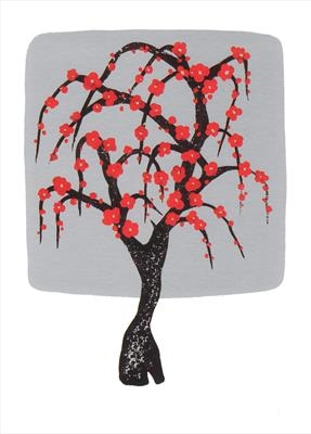 Chinese tree in silver and red I