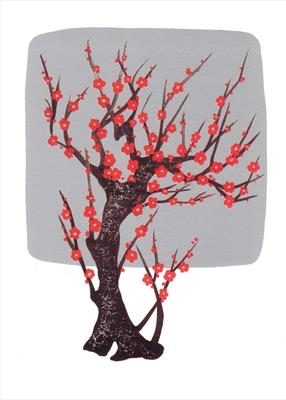 Chinese tree in silver and red II