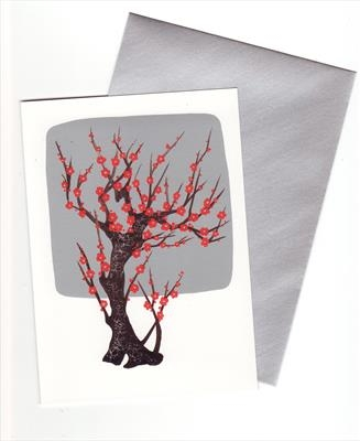 10 x Chinese Tree in Silver and Red II
