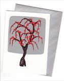 10 x Chinese Tree in Silver and Red I by Alexandra de Laszlo, Painting, Gouache