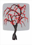 Chinese tree in silver and red I by Alexandra de Laszlo, Artist Print, lithography onto card