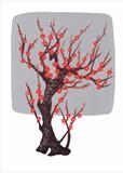 Chinese tree in silver and red II by Alexandra de Laszlo, Artist Print, lithography onto card