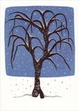 Tree in snowfall I by Alexandra de Laszlo, Painting, Gouache